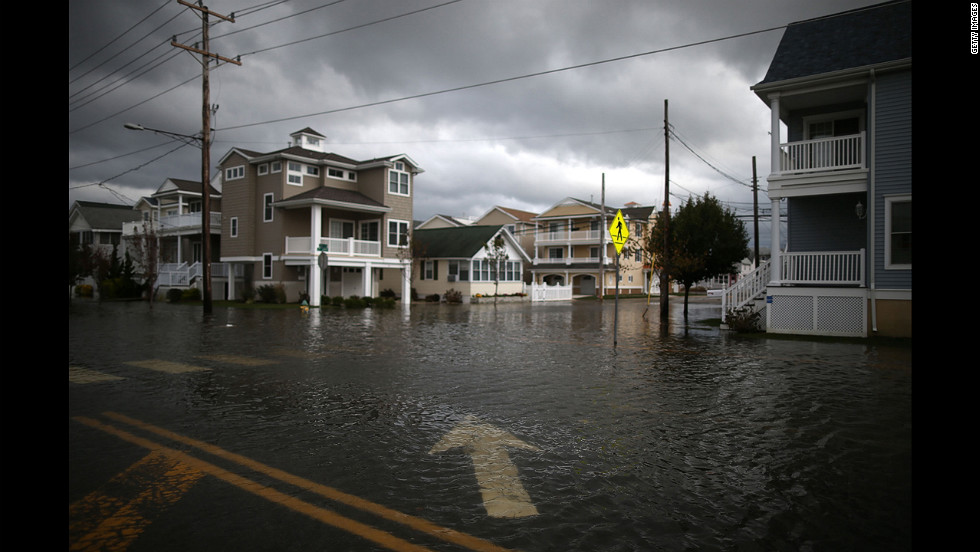 Streets remain flooded in portions of Ocean City, New Jersey.