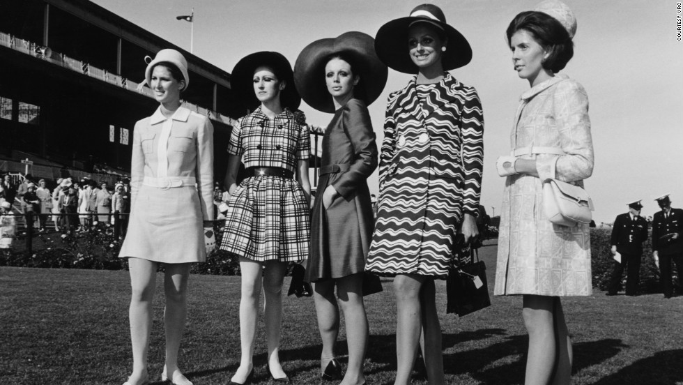 "Just three years after Shrimpton caused a stir, finalists in the 1968 ""Fashions on the Field"" competition can be seen wearing dresses well above the knee."