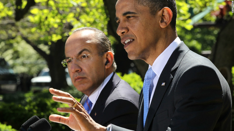 Outgoing President Calderon (shown in 2012 with Barack Obama) declared war on drug cartels in Mexico in 2006. Since then, tens of thousands have died in the ensuing violence.