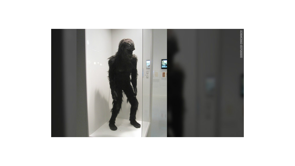 "The costume for ""Moonwatcher,"" the ape from ""the dawn of man"" who threw that famous bone toward the heavens in Kubrick's sci-fi film, ""2001: A Space Odyssey."""