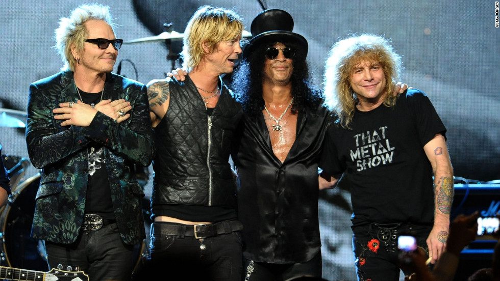 Matt Sorum, left to right, Duff McKagan, Slash and Steven Adler perform onstage during the 2012 Rock And Roll Hall of Fame Induction Ceremony in Cleveland, Ohio.