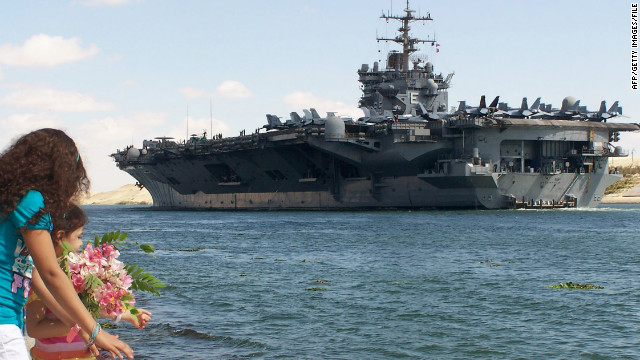 The USS Enterprise crosses the Suez Canal earlier this month, its last deployment in more than 50 years of service.