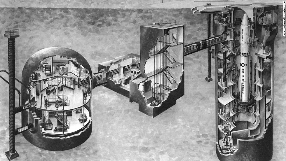 "A diagram of Missile Site 571-7 shows the facility ""launch control center"" on the left and a ""launch duct"" housing a Titan II missile on the right. The missile measures 103 feet tall."