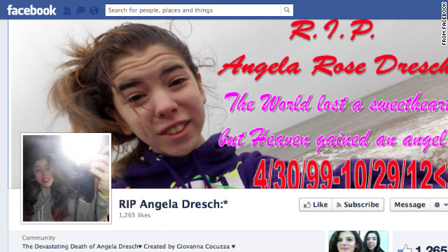 Friends of Angela Dresch have set up a Facebook page in the 13-year-old's memory after she died in Superstorm Sandy.