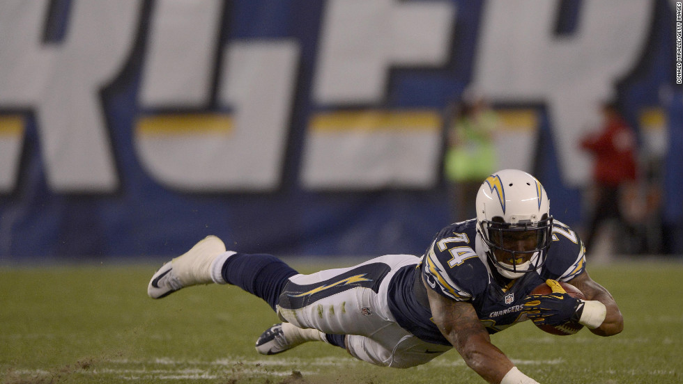 Ryan Matthews of the Chargers takes a dive during the game against the Chiefs.