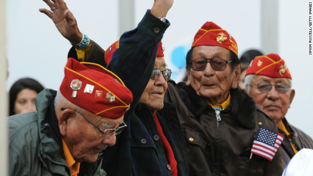 Navajo code talkers attend the 2011 Citi Military Appreciation Day event to honor veterans and current service members in New York's Bryant Park on November 11, 2011.