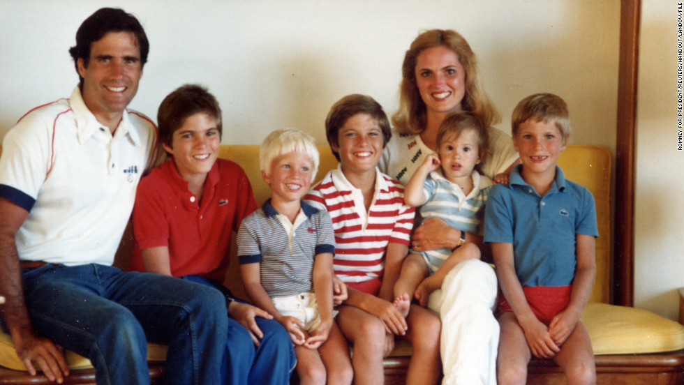 Republican presidential candidate Mitt Romney with his wife, Ann, and their sons, left to right, Tagg, Ben, Matt, Craig and Josh, in an undated photo.