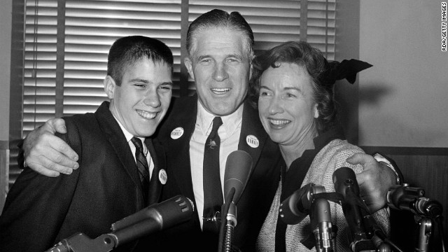 A young Mitt Romney with his parents, George W. and Lenore Romney.