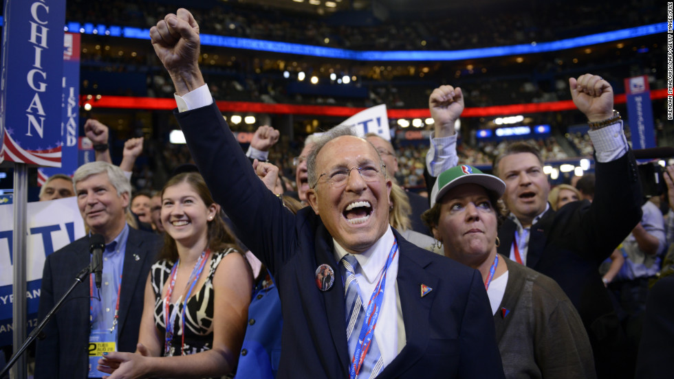 Mitt Romney's brother Scott cheers during the roll call for nomination of the Republican presidential candidate at the 2012 Republican National Convention.