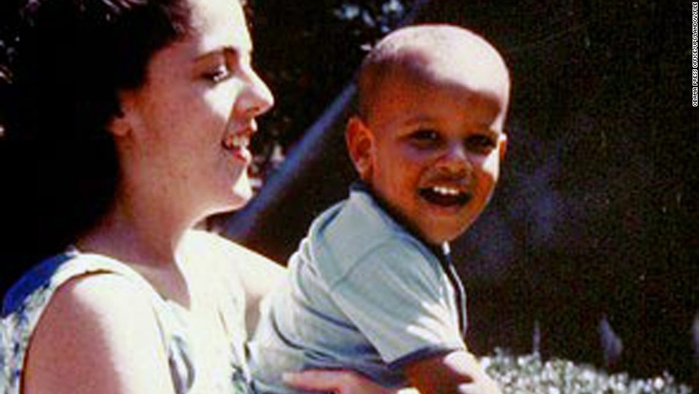 President Obama with his mother, Ann Dunham, in an undated childhood photo taken in Honolulu.