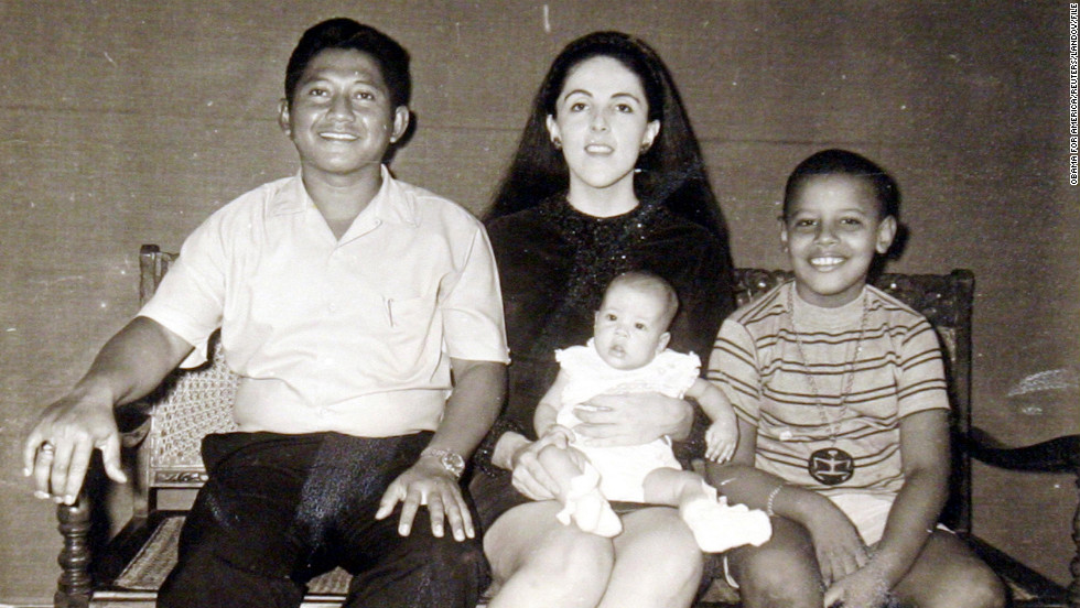 President Obama with his stepfather, Lolo Soetoro, left, his sister Maya Soetoro and his mother, Ann Dunham, center, in an undated family snapshot.