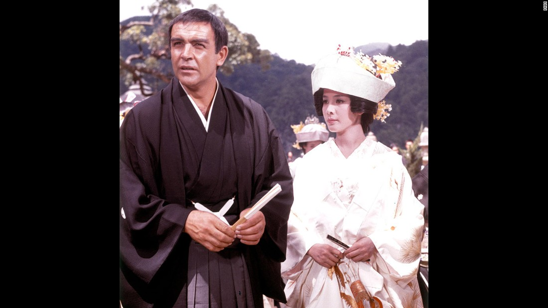 "Mie Hama's Kissy Suzuki marries Bond in a mock ceremony while he's undercover as a fisherman in 1967's ""You Only Live Twice."""