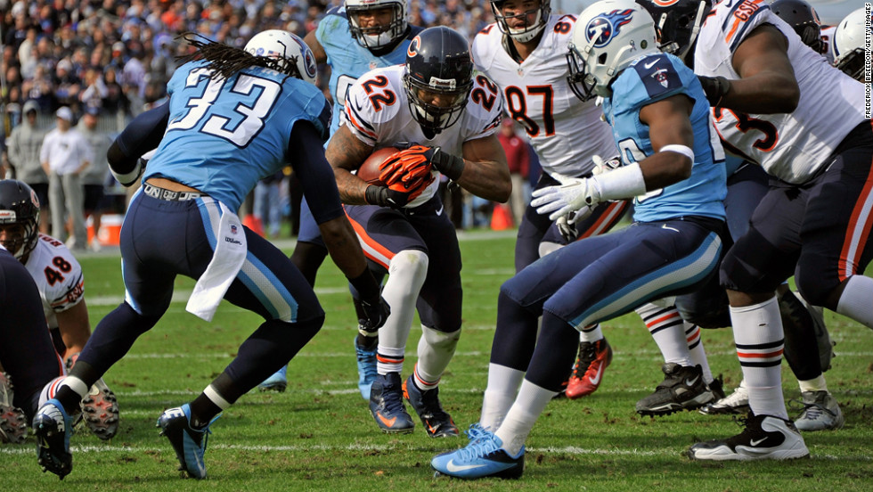 Matt Forte of the Chicago Bears scores a touchdown against the Tennessee Titans at LP Field on Sunday in Nashville.