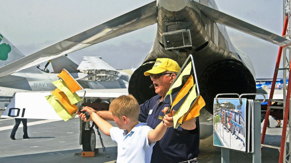The Midway bills itself as a hands-on military museum with interactive exhibits both on the flight deck and below.