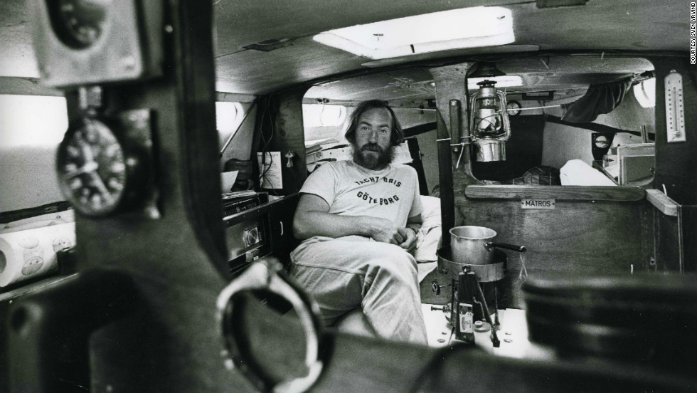 Yrvind in the six meter yacht he built in his mother's basement and sailed from Sweden to Newport in 1983. The boat is now on display at the Museum of Yachting in Newport, Rhode Island.