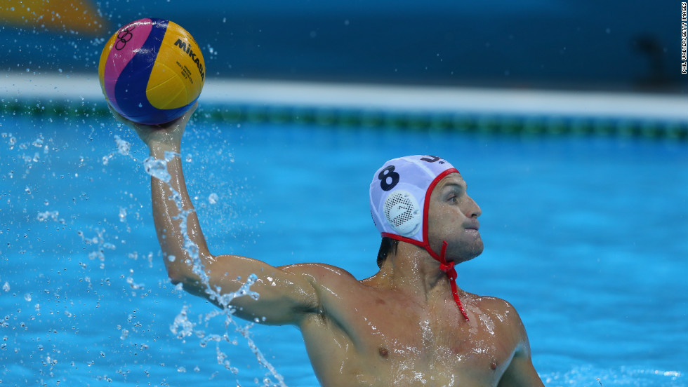 Water polo player Tony Azevedo, shown here playing for the United States at the 2012 Olympics, also plays professionally for a team in Croatia.
