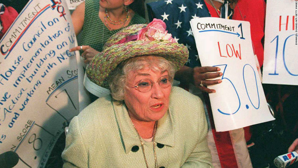 Former U.S. congresswoman and leading feminist Bella Abzug talks to journalists in China in 1995.