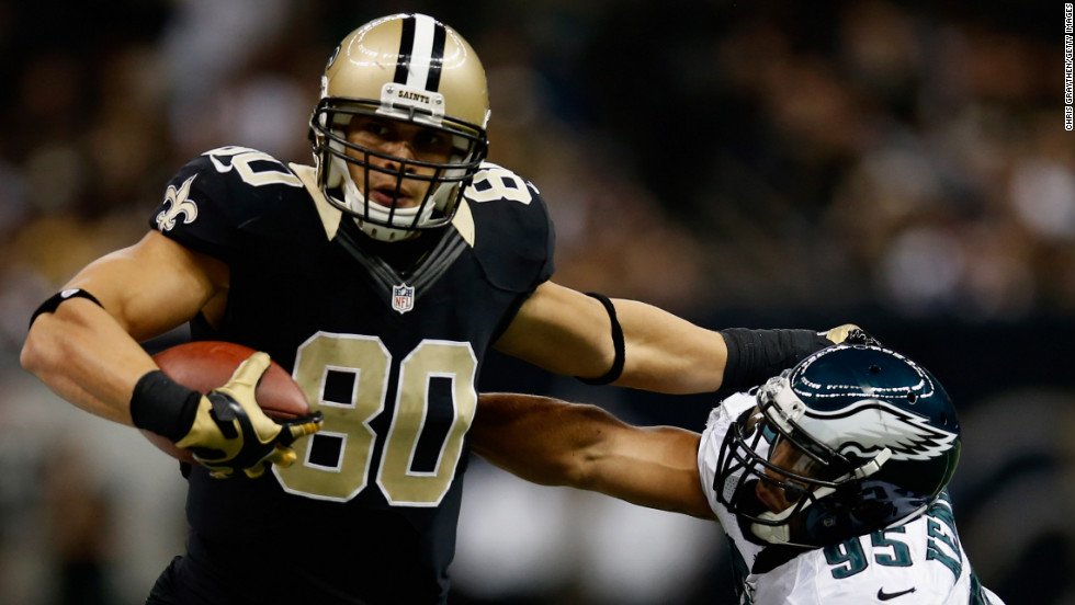 "Jimmy Graham of the New Orleans Saints is pushed out of bounds by Mychal Kendricks of the Philadelphia Eagles on Monday, November 5, at the Mercedes-Benz Superdome in New Orleans. Check out the action from Week 9 of the NFL, or <a href=""http://www.cnn.com/2012/10/25/worldsport/gallery/nfl-week-8/index.html"">look back at the best from Week 8</a>."