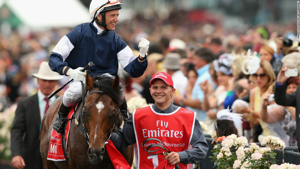 Brett Prebble riding Green Moon celebrates as he returns to the scales after winning the coveted Cup.