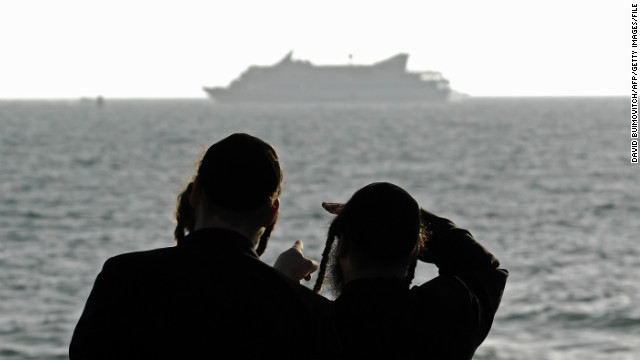 Two ultra-Orthodox Jews look at Turkish aid ship Mavi Marmara off  Israel on May 31, 2010.