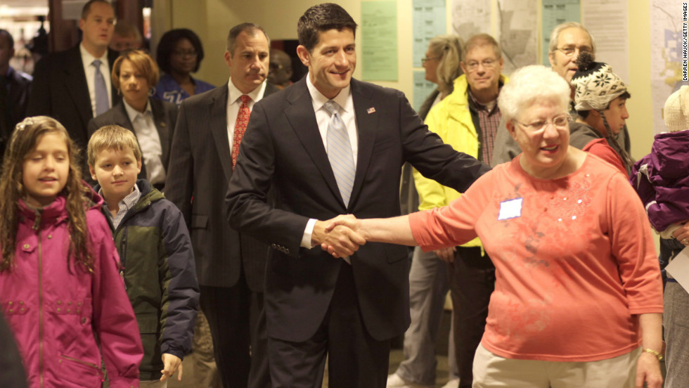 Republican vice presidential candidate U.S. Rep. Paul Ryan and his family head to the polls in Janesville, Wisconsin.