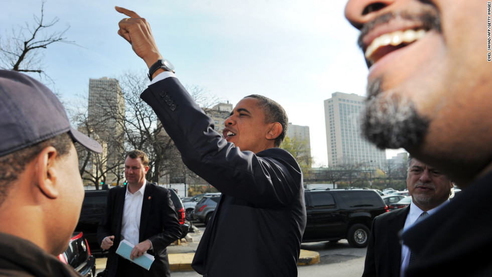 President Obama greeted supporters outside a campaign office in Chicago.