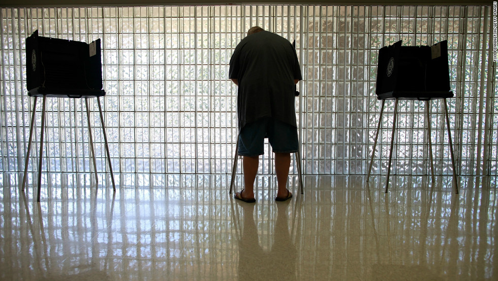 A voter cast his ballot Tuesday in Mansfield, Texas.