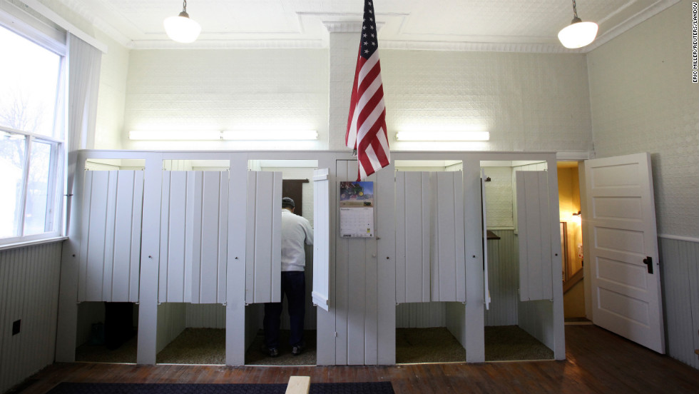 A man votes inside the Town Hall in Franconia, Minnesota.