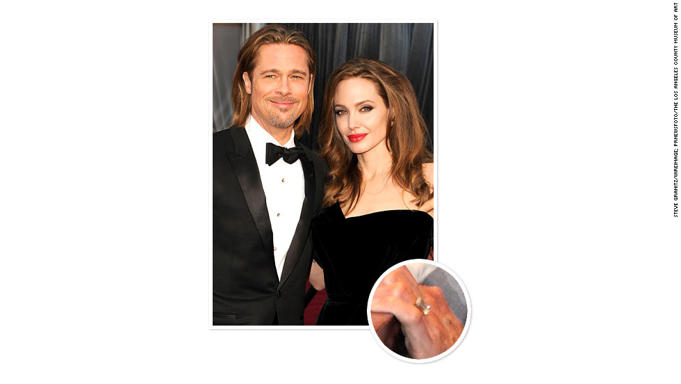 Brad Pitt proposed to longtime partner Angelina Jolie in April 2012 with a rectangular diamond ring estimated to be more than 10 carats.
