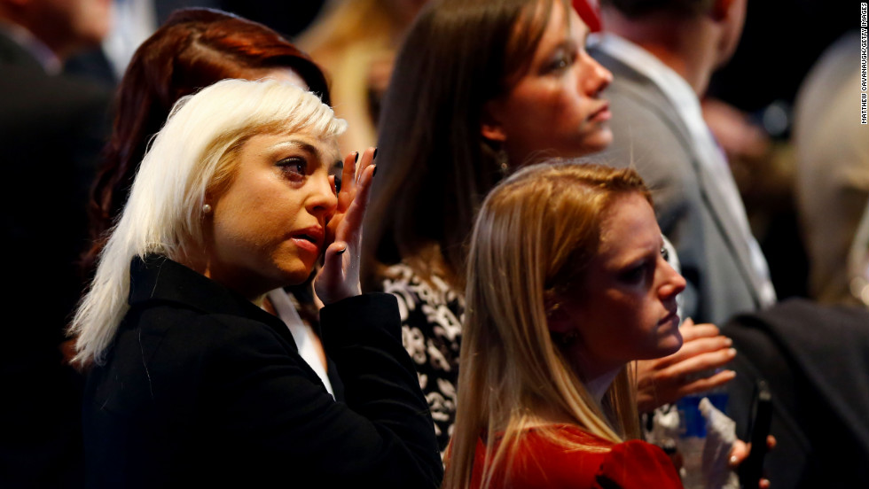 Romney supporters in Boston were tearful and subdued as the numbers told a story they didn't want to hear.