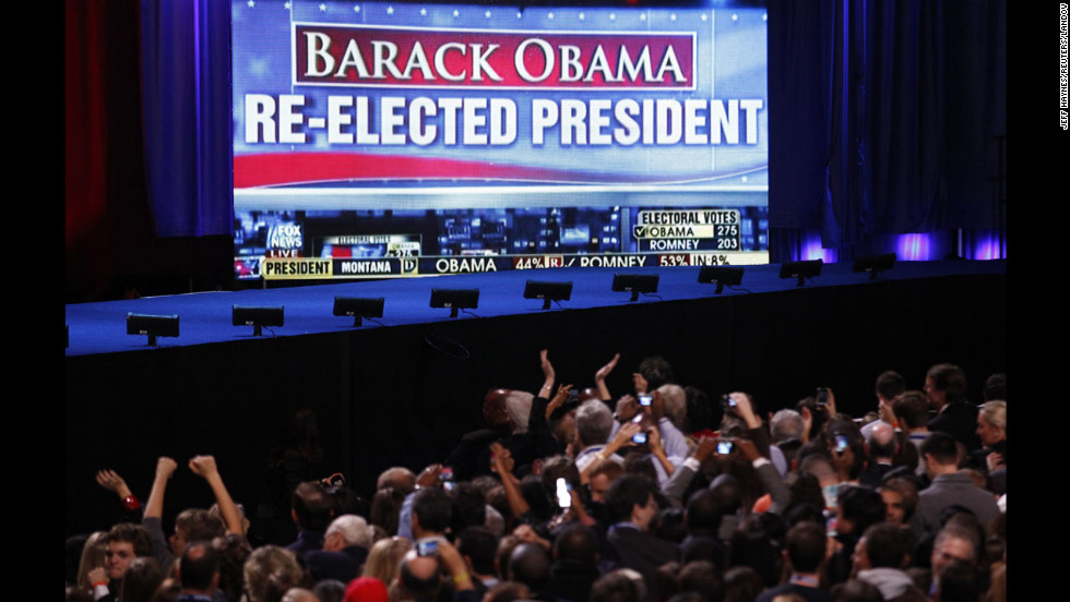 A huge screen gave Obama supporters in Chicago plenty to cheer about: The president won a second term.
