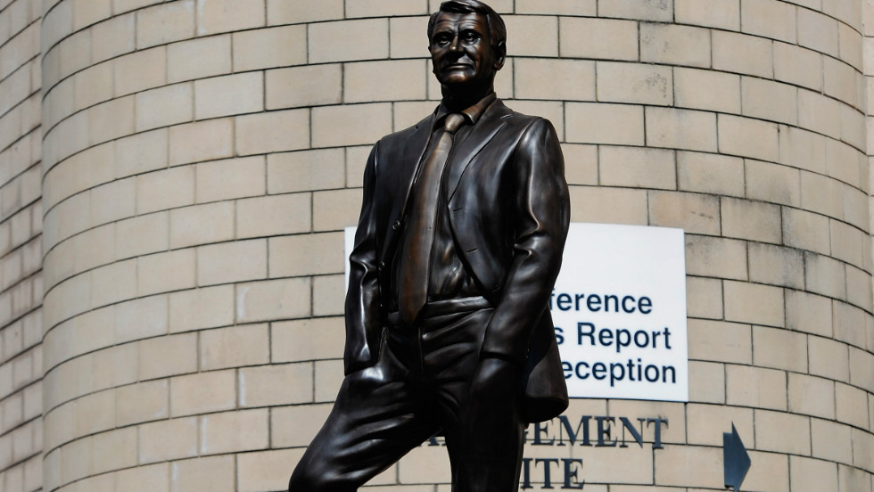 A number of other English clubs have commissioned artworks to remember former managers, notably Bobby Robson, who managed a number of clubs including Ipswich Town, Barcelona and Newcastle United as well as England. This statue of Robson is outside Newcastle United's St James' Park.