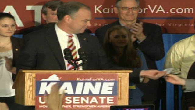 Kaine stops speech to announce Obama win
