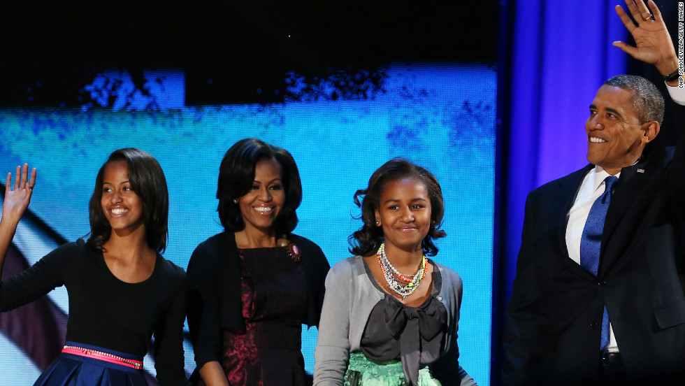 President Barack Obama walked onstage with first lady Michelle Obama and daughters Sasha and Malia to deliver his victory speech.