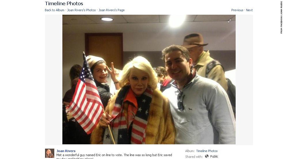 "While voting November 6, Joan Rivers ""met a wonderful guy named Eric on line to vote,"" she posted on Facebook. ""The line was so long but Eric saved my day and held my place!"""