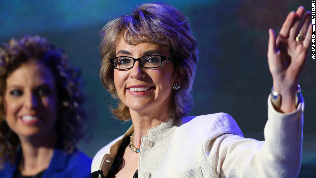 Former U.S. Rep. Gabrielle Giffords,  who survived a mass shooting two years ago, visited Newtown on Friday.