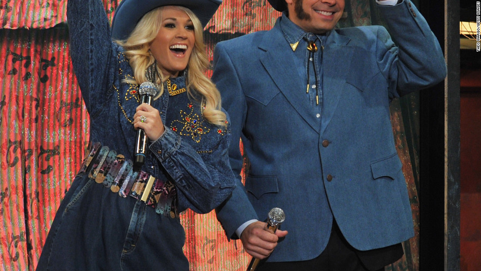 "Carrie Underwood and Jimmy Fallon perform a skit during ""Late Night With Jimmy Fallon."""