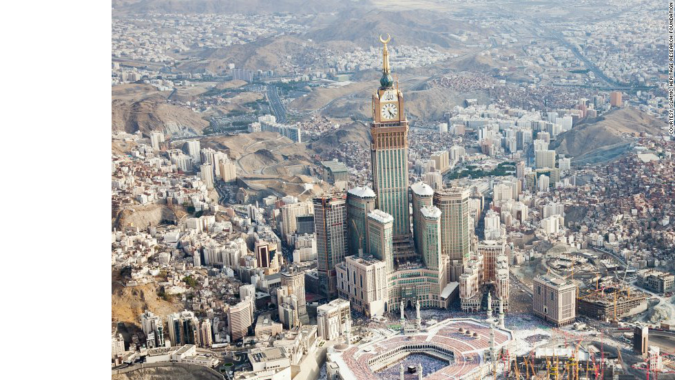 Mecca has changed dramatically over the past decades. This is how it appears in 2012. The Grand Mosque, in the foreground, is dwarfed by the Abraj Al Bait Towers complex, including the Royal Mecca Clock Tower.