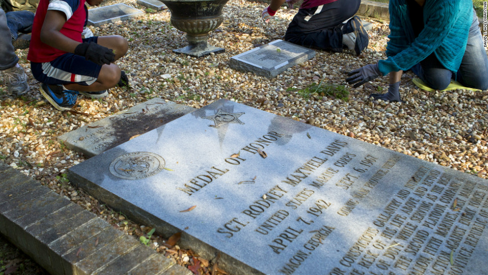Linwood Cemetery in Macon, Georgia, fell into disrepair over the years, prompting families and volunteers to clean the site and graves, including that of Marine Sgt. Rodney Davis. Thanks to one of the men Davis saved in Vietnam, veterans have rallied to create a lasting legacy to Davis this Veterans Day weekend.