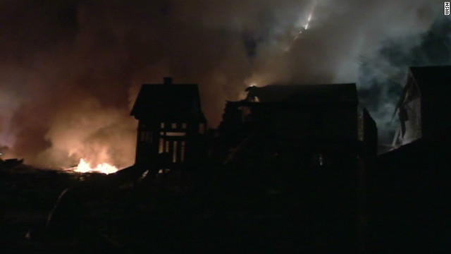 Houses flattened in explosion