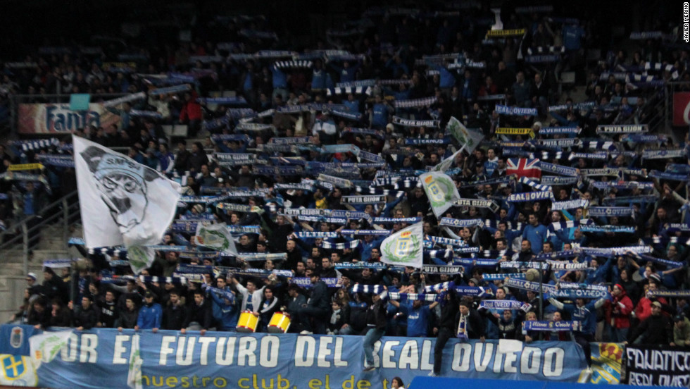 "Oviedo fans show their support for the club in the Estadio Carlos Tartiere with a banner reading ""For the future of Real Oviedo"". The Spanish club had needed to raise €1.9 million ($2.4 million) by November 17 or go bust."