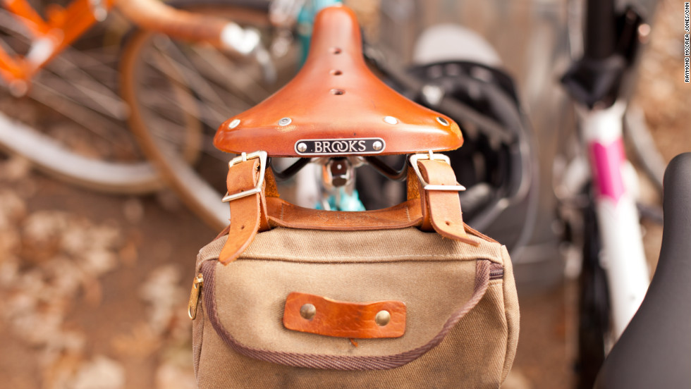 Many of the bikes are decked out in vintage-inspired adornments, including saddles by Brooks England, which has been making bicycle accessories since 1866.