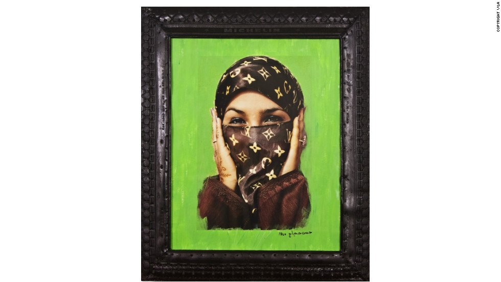 <strong>'Saida in Green' by Hassan Hajjaj (2000) </strong>Artist Hassan Hajjaj moved to London from Larache, Morocco when he was 14, immersing himself in London's music and fashion scenes before returning to North Africa. In his work, he merges Middle Eastern fashion with global brands, using found materials, he says, to play with European stereotypes of North Africa.