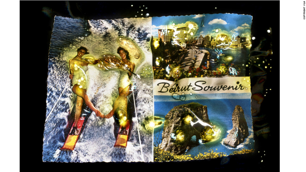 <strong>'Wonder Beirut #13, Modern Beirut, International Centre of Water-Skiing,' from the series 'Wonder Beirut' by Joana Hadjithomas and Khalil Joreige (1997-2006)</strong> Inspired by finding that postcards depicting pre-civil war Beirut were still on sale after the war ended in 1990, Lebanese filmmakers Joana Hadjithomas and Khalil Joreige invented a fictional photographer named Abdallah Farrah to document the city's downfall. The duo claim the images were created after violence erupted in 1975 -- when Farrah partly destroyed photographic negatives he had taken for the Lebanese tourist board.