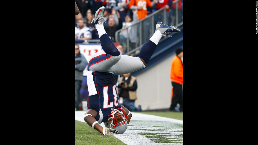 George Wilson of the New England Patriots lands on his head after defending on a pass in the end zone against the Buffalo Bills on Sunday at Gillette Stadium in Foxboro, Massachusetts.