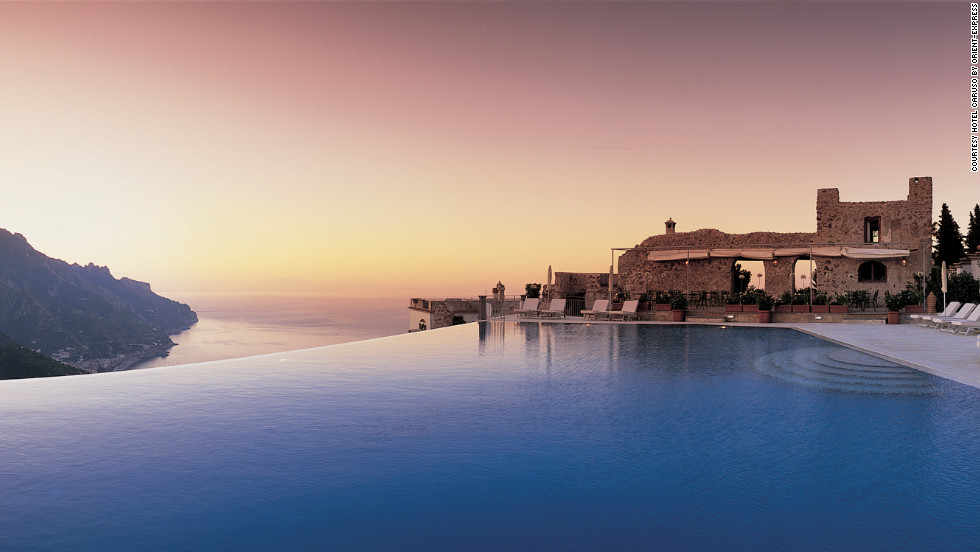The Hotel Caruso Belvedere's pool blends seamlessly with the surrounding sea.