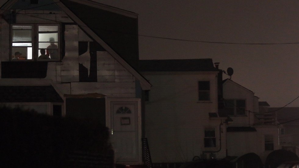"One room has power Monday in Rockaway, where many areas are still without electricity.  ""If you don't have your power back, it probably means power can't be restored to your home at this time,"" New York Gov. Andrew Cuomo said Monday afternoon."