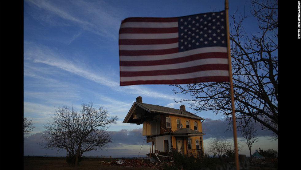 A home damaged by Sandy is seen in Union Beach, New Jersey, on Monday, November 12.