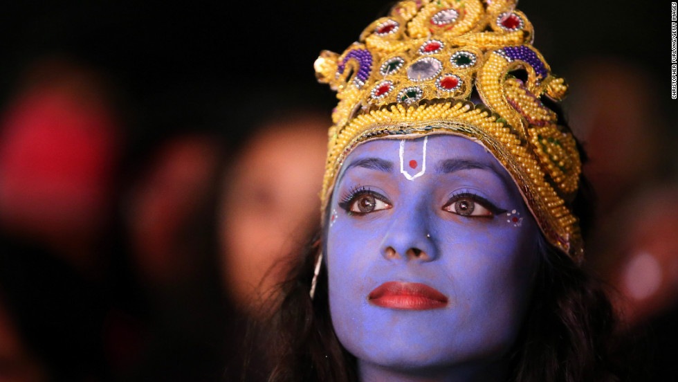 Dancer Vimi Solanki waits to perform as Lord Krishna in Leicester, England. Up to 35,000 people attended the Diwali festival in Leicester's Golden Mile, the heart of the city's Asian community.