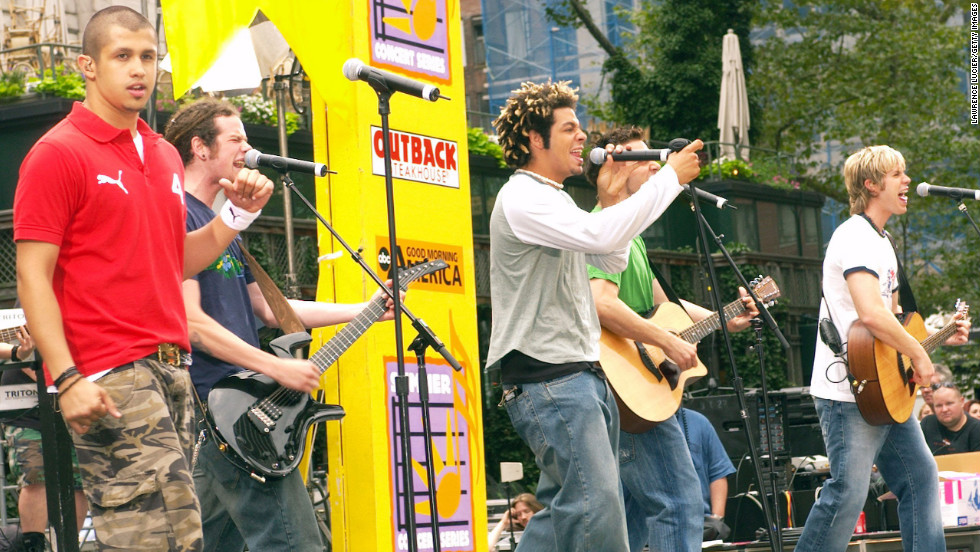 "Erik-Michael Estrada, Jacob Underwood, Trevor Penick, Dan Miller and Ashley Parker Angel of the group O-Town perform in 2002. The group, which came to be thanks to the first season of MTV's ""Making the Band,"" is perhaps best known for the single ""Liquid Dreams"" in 2000."